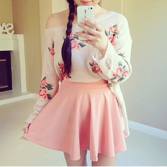 sweater pull pullover skirt clothes girly flowers print pink fleurs jupe france