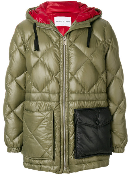 Sonia Rykiel jacket hooded jacket women quilted green