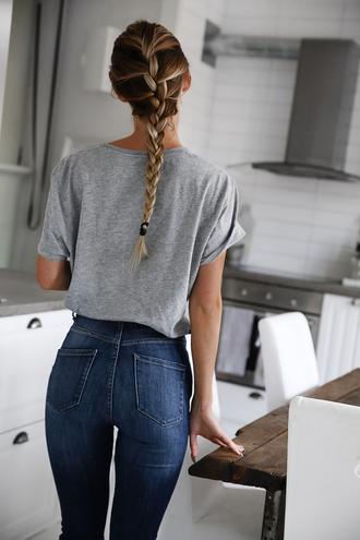 jeans long hipster dark blue dark jeans denim grey t-shirt braid high waisted slim slim fit