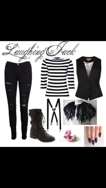 pants laughing jack creepypasta boots jeans shirt suspenders stripes shoes