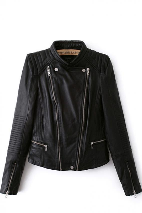 Oblique zipper long sleeve pu leather biker jacket