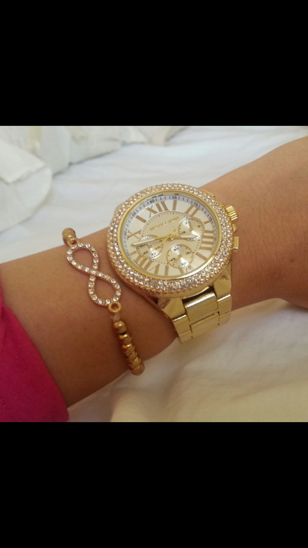 jewels watch gold bracelets infinity diamonds sparkle classy elegant