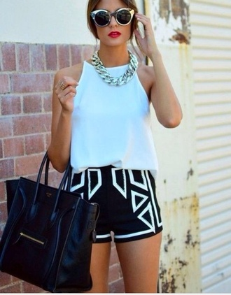 tank top jewels shorts black and white shorts