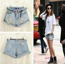 Cute retro women girls light blue high waist flange hole wash jeans denim shorts