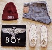 tank top,beanie,boy,eagle,girl,denim hotpants,burgundy,converse,perfect combination,boy london,shorts