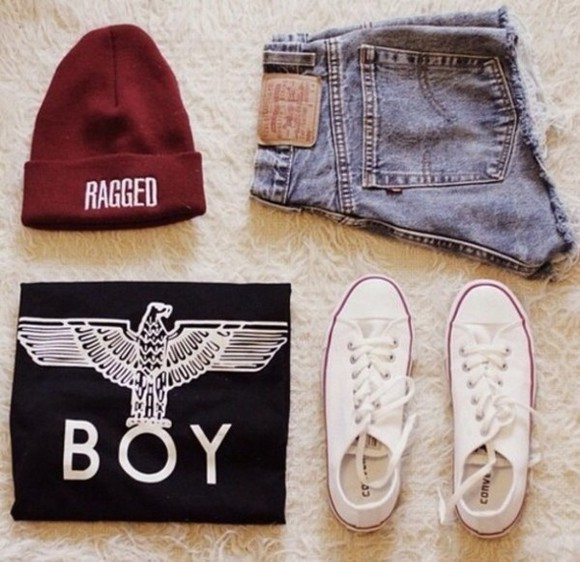 shorts boy london boy eagle tank top beanie girl denim hotpants burgundy converse perfect combination