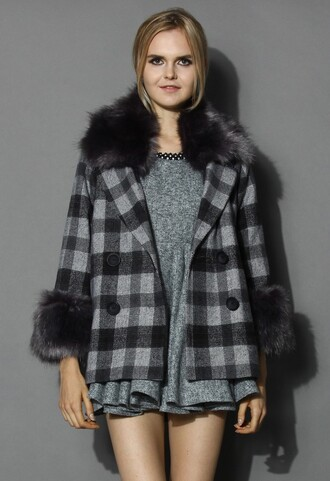chicwish classy check print wool coat faux fur trimming coat fashion and warm