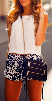 summer outfits,pinterest,black and white,crop tops,bag,shorts,High waisted shorts,white,rebecca minkoff,revolve clothing,revolve,clutch,top