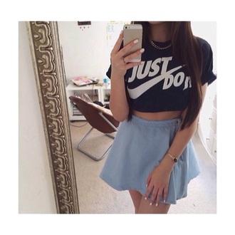 shirt nike black crop tops just do it skirt