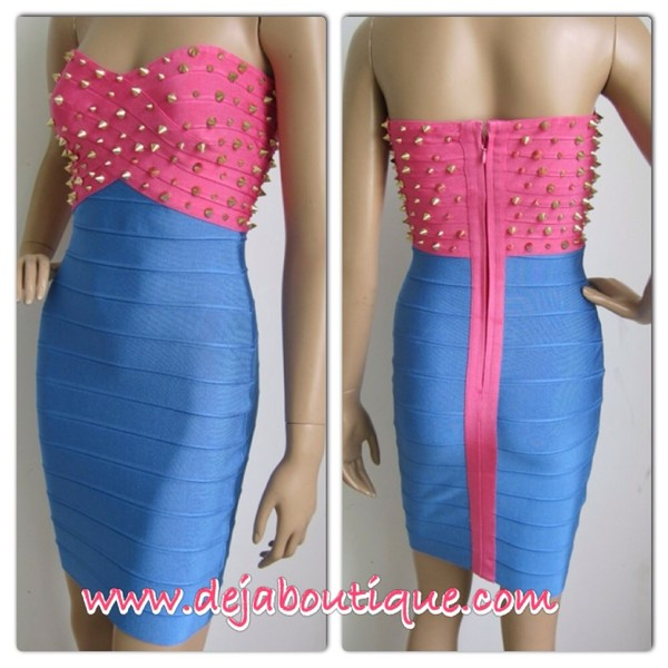 dress pink blue stud bandage dress