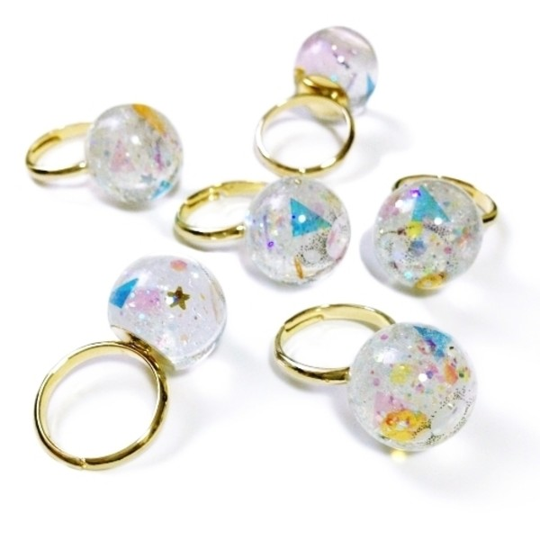 jewels dome ball crystal ball sequins ring gold glitter