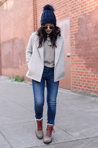 the fancy pants report blogger shoes sweater jeans hat sunglasses beanie grey coat winter outfits winter boots