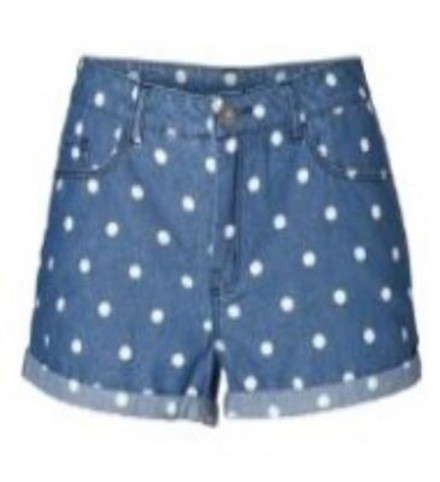 Vero Moda High Waisted Polka Dot Spotted Denim Shorts in Blue *BNWT* | eBay