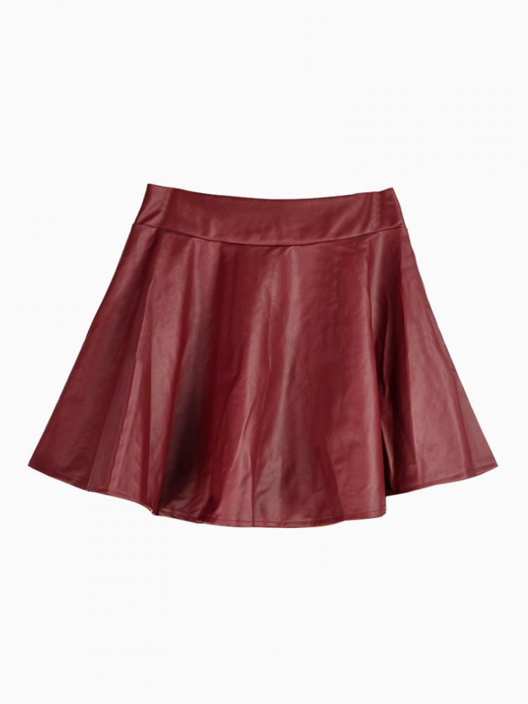 Red Skater Skirt In Leather Look | Choies
