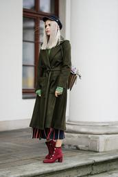 coat,hat,tumblr,green coat,green long coat,long coat,fisherman cap,boots,red boots,ankle boots