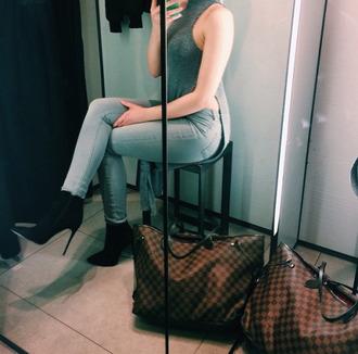 shoes booties black suede booties high slit high heels top jeans