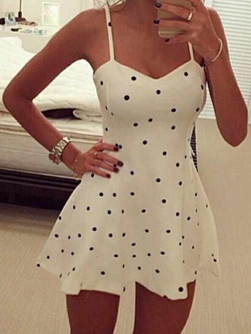 White spaghetti strap v neck polka dot dresses