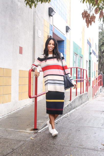 tumblr knit stripes white sneakers sneakers sweater knitwear striped sweater skirt knitted skirt midi skirt