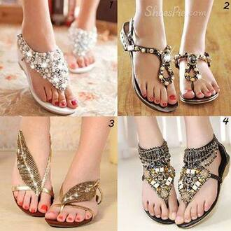 shoes embellished diamonds flat sandals gemstone