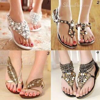 shoes embellished diamonds flat sandals gemstone
