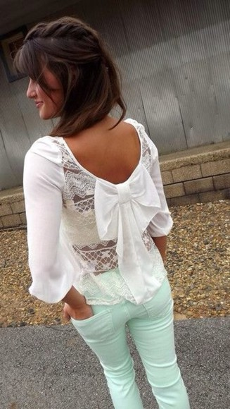 bow top shirt lace white shirt white lace top blouse
