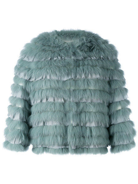 Yves Salomon jacket fur fox women cotton silk green