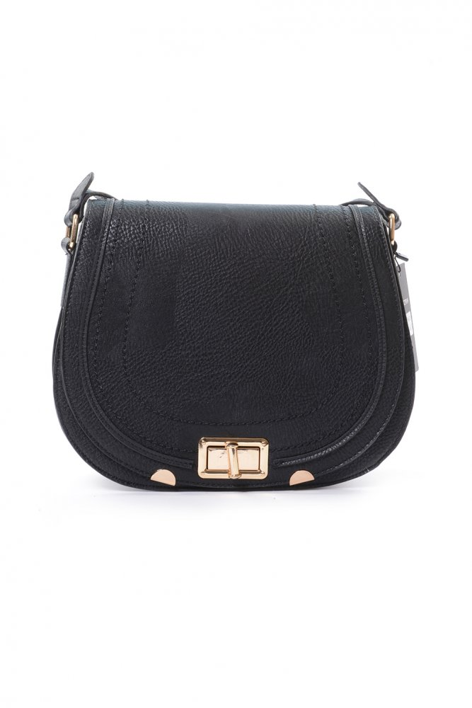 Buy Black Textured Leather Look Saddle Bag With Gold Twist Lock Fastening And Gold Tone Decorations