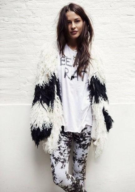 Black and white fluffy jacket