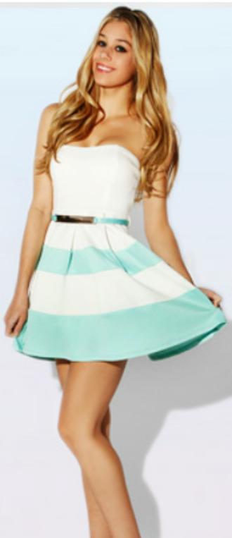 dress blue white strapless belt stripes summer high waisted denim shorts skirt