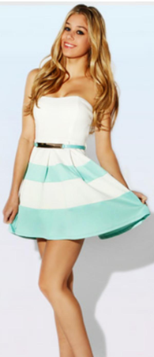 Dress: blue- white- strapless- belt- stripes- stripes- summer ...