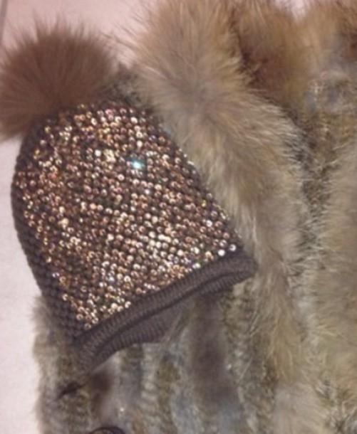 f02aeae673c fur beanie glitter hat