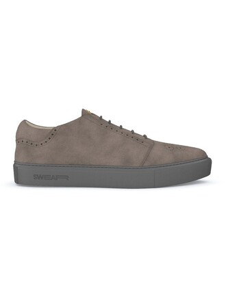 women sneakers leather suede grey shoes