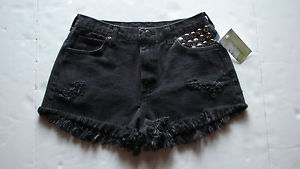 "Lee Jean Shorts Sz 27"" w Black Studded Distressed Fray High Waist Women 
