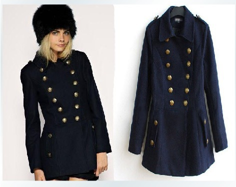 2013 slim fit women woolen coat wool overcoat navy blue dress british style office lady outerwear fashion design woolen blends