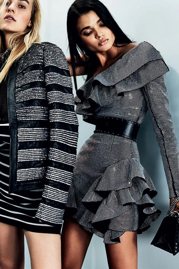 dress ruffle ruffle dress belt balmain Paris Fashion Week 2017