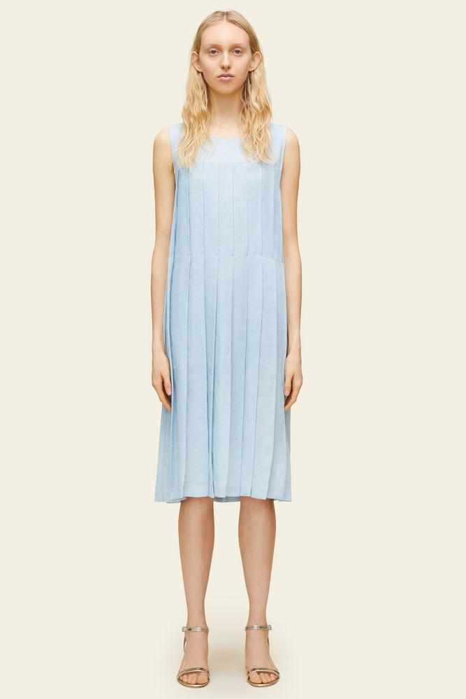 Mansur Gavriel Linen Pleated Sleeveless Dress - Sky Blue