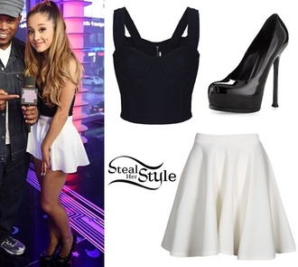 top ariana grande bustier black black and white black pumps white skater skirt shirt skirt bustier top skater skirt white shoes style white skirt black top crop tops heels