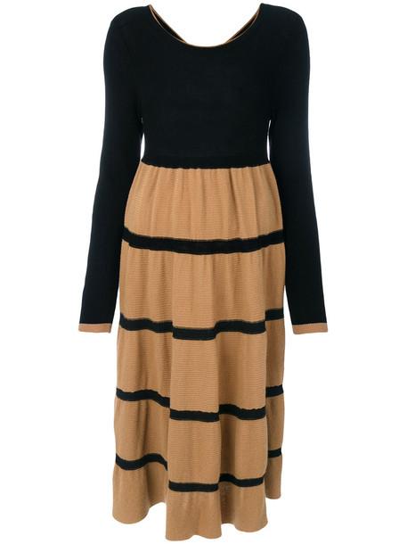 Twin-Set - knitted line dress - women - Viscose/Polyamide/Wool/Alpaca - XS, Black, Viscose/Polyamide/Wool/Alpaca