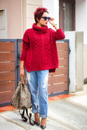 sweater,red cable knit sweater,cable knit,red sweater,turtleneck,turtleneck sweater,streetstyle,denim,jeans,blue jeans,ripped jeans,pumps,pointed toe pumps,high heel pumps,shoes,black shoes,bag,printed bag,sunglasses