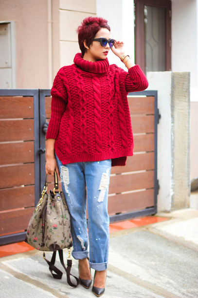 Sweater: red cable knit sweater, cable knit, red sweater ...