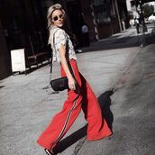 pants,tumblr,lace top,white lace top,white top,wide-leg pants,red pants,bag,black bag,sunglasses,spring outfits