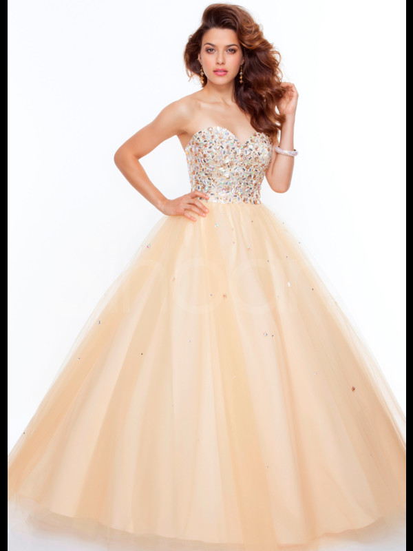 dress long organza dress for prom and quinceanera champagne floor length sequins