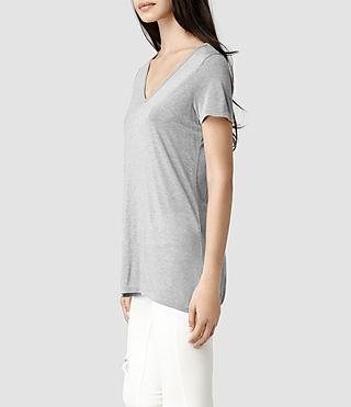 Womens Malin Silk T-Shirt (Grey Marl) | ALLSAINTS.com