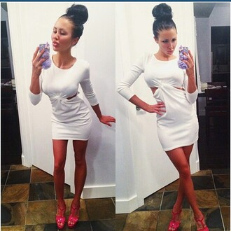 dress mischievous socialite side cutouts knot long sleeves white bodycon