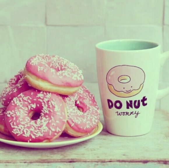 t-shirt donut pink dont worry cups coffee mug