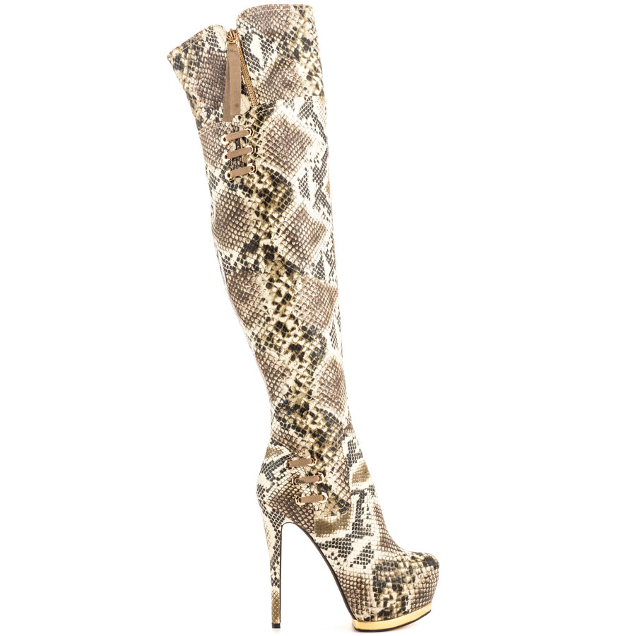 Luichiny May La thigh high over the knee high platform boots SILVER beige snake