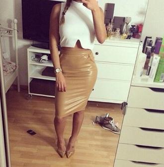 cuir brown skirt brown skirt