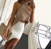 shirt,top,skirt,nude,nude top,midi skirt,crop tops,cream,turtleneck,sleeveless,sexy,party,style,fashion,classy,blouse,tan,white,cute,asymmetrical,halter top,cute outfits,white skirt,pale is the new tan shirt,find exact,outfit,dress,nude classy sexy,beige,summer,teenagers,teenstyle,summer outfits,two-piece,cut out crop top,yves saint laurent