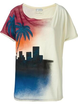 t-shirt shirt print yellow orange top