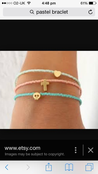 jewels pastel pink blue skull cross heart